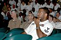 US Navy 071020-N-4657D-019 Personnel Specialist 2nd Class Kennith D. Black pays close attention as Force Master Chief David R. Pennington discusses several points about full-time service with members of the Naval Enlisted Reser.jpg