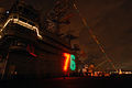 US Navy 071218-N-3659B-008 While moored at Naval Air Station North Island, the Navy's newest Nimitz-class nuclear-powered aircraft carrier USS Ronald Reagan (CVN 76) displays its holiday lights.jpg