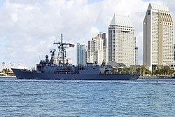 The guided-missile frigate USS Gary (FFG 51) transits San Diego Bay, 2009.