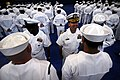 US Navy 090421-N-0807W-100 Sailors at Fleet Activities Sasebo (CFAS) stand in ranks during a service dress white inspection by Capt. Francis Xavier Martin, commander, Fleet Activities Sasebo.jpg