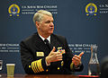 US Navy 091007-N-8273J-106 Chief of Naval Operations (CNO) Adm. Gary Roughead is interviewed during a press conference at the 19th Biennial International Sea Power Symposium.jpg