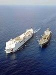 US Navy 100222-N-6410J-026 The Military Sealift Command hospital ship USNS Comfort (T-AH 20), left, and the Military Sealift Command fleet replenishment oiler USNS Leroy Grumman (T-AO 195) conduct an underway replenishment.jpg