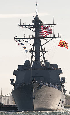 US Navy 101105-N-7948C-051 The Arleigh Burke-class guided-missile destroyer Pre-Commissioning Unit (PCU) Jason Dunham (DDG 109) enters Port Evergla.jpg