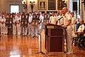 US Navy 110911-N-KE582-001 Commandant of Midshipmen Capt. Robert E. Clark II delivers remarks during a Sept. 11, 2001 remembrance ceremony in Memor.jpg