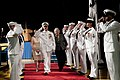 US Navy 110923-N-ZB612-123 Adm. Gary Roughead salutes the sideboys with his wife, Ellen, at the conclusion of the Chief of Naval Operations change.jpg