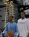 US Navy 111110-N-JN664-297 University of North Carolina basketball players Dexter Strickland, left, and John Henson, right, practice aboard the Nim.jpg