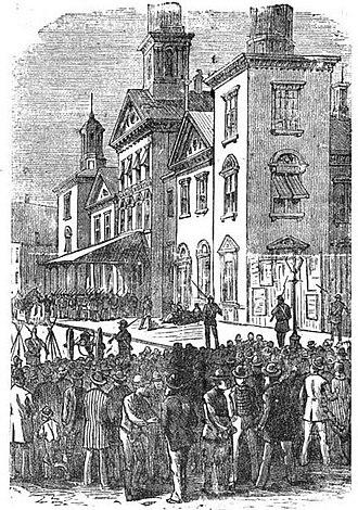 Baltimore railroad strike of 1877 - Troops guarding the Camden Street depot