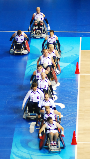 United States national wheelchair rugby team - The USA players at the 2008 Paralympics in Beijing.