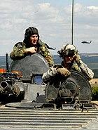 US soldier in Bulgarian BMP-1