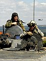 US soldier in Bulgarian BMP-1.jpg