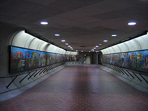 U Street station - Corridor to 13th Street entrance. Painted murals depict African-American musicians dancing in the street, an homage to U Street's cultural heritage