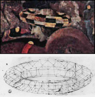 Chaperon (headgear) - Above: A mazzocchio, perhaps worn by himself, in the Louvre portion of The Battle of San Romano by Paolo Uccello, c. 1435–1440. Below: Perspective study of a torus by Paolo Uccello, c. 1430–1440.