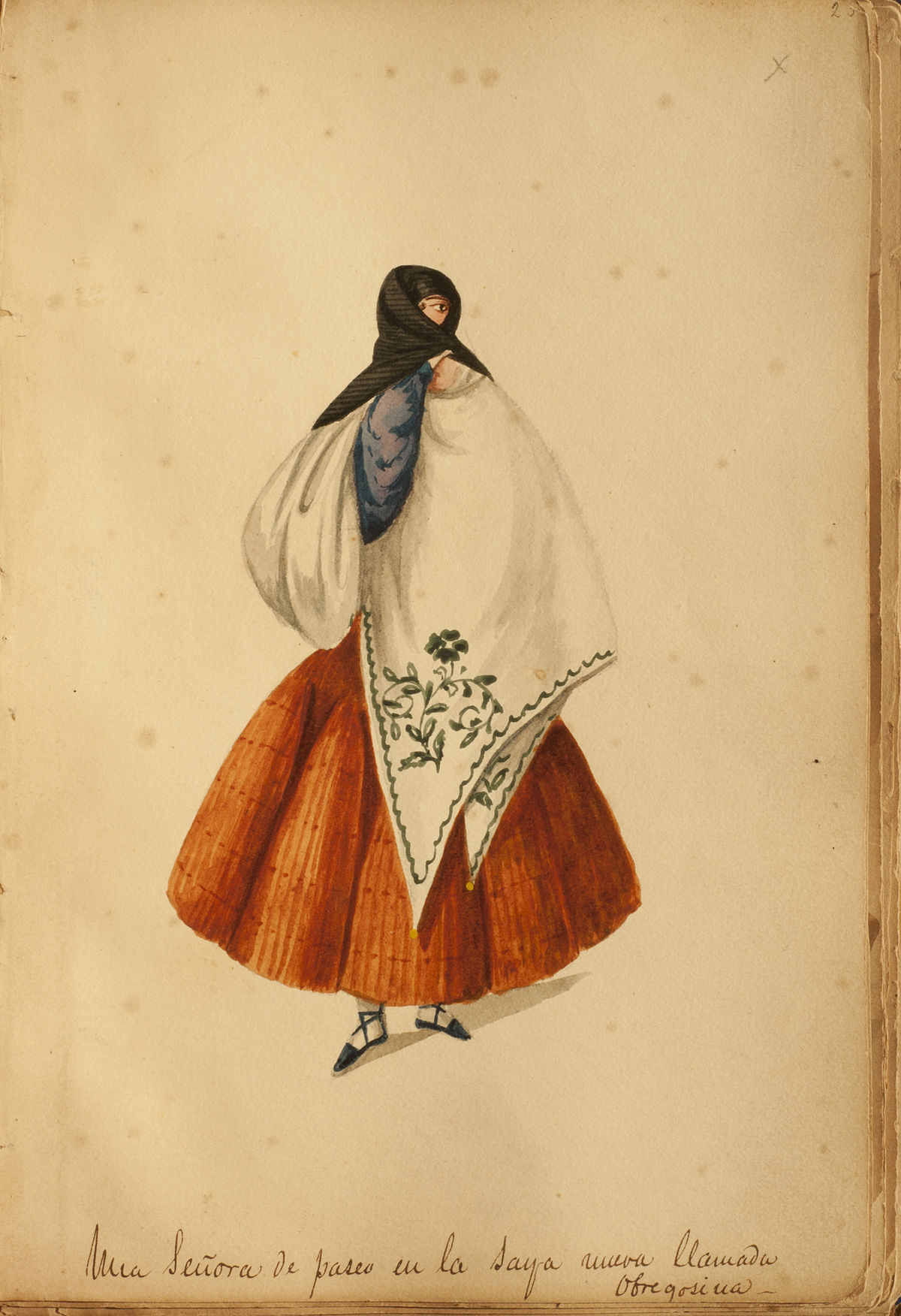 Archivo:Una Señora de paseo en la saya nueva llamada obregosina - Pancho  Fierro.jpg - Wikipedia, la enciclopedia libre