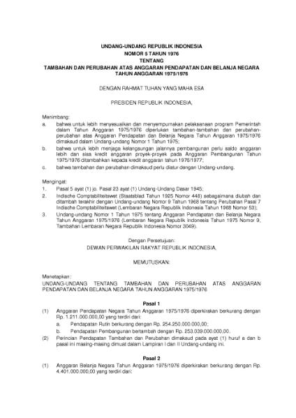 File:Undang-Undang Republik Indonesia Nomor 5 Tahun 1976.djvu