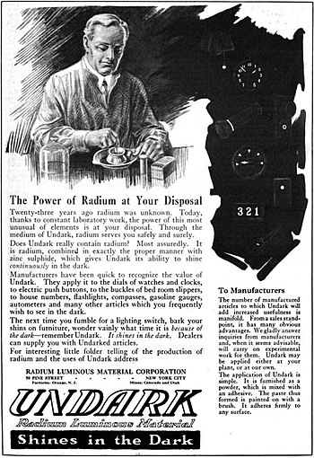 1921 magazine advertisement for Undark, a prod...