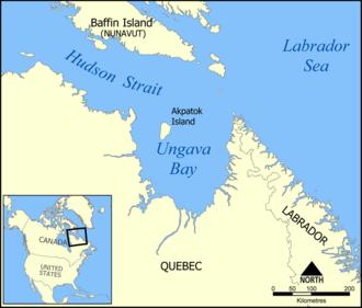 Akpatok Island - Akpatok Island and Ungava Bay.
