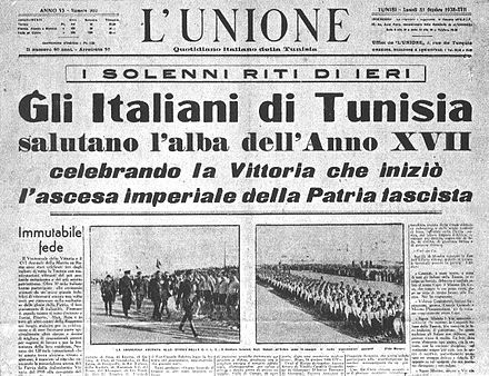Italian October 1938 newspaper in Tunisia that represented Italians living in the French protectorate of Tunisia. Unione tunisi 31octobre1938.jpg