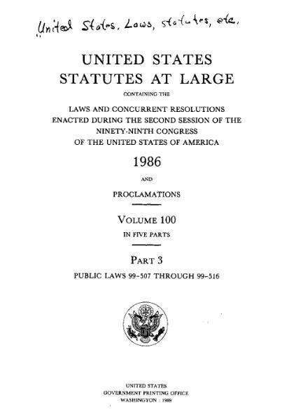 File:United States Statutes at Large Volume 100 Part 3.djvu