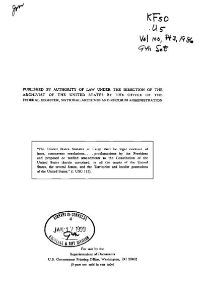 File:United States Statutes at Large Volume 100 Part 3.djvu