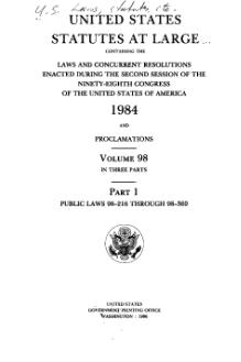 United States Statutes at Large Volume 98 Part 1.djvu