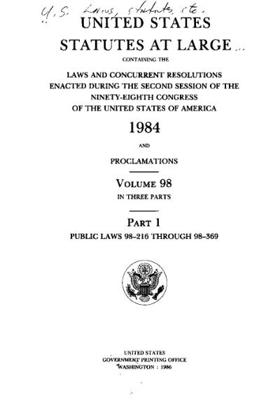 File:United States Statutes at Large Volume 98 Part 1.djvu