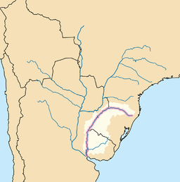 Map of Uruguay River's basin