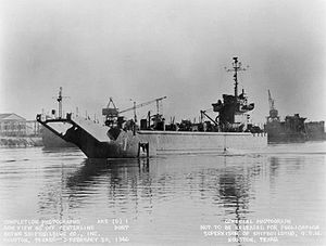 USS Gypsy (ARS(D)-1) underway at Houston, TX., 20 February 1946.