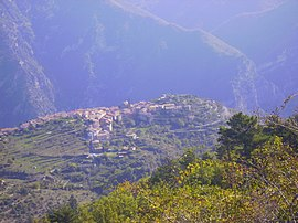 A view of Utelle from a nearby hillside