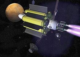 Vue d'artiste d'un vaisseau interplanétaire à propulsion magnéto-plasmique à impulsion spécifique variable.
