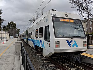 VTA light rail vehicle at Winchester station.jpg