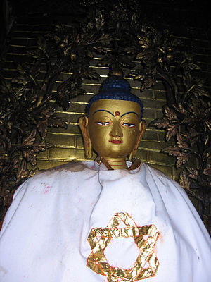 Newar people - Statue of Vairochana Buddha on the Swayambhu Stupa.