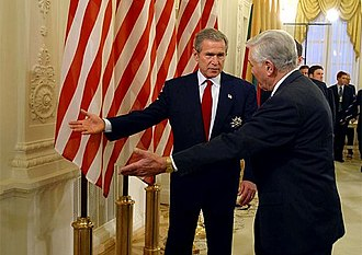 Foreign relations of Lithuania - Valdas Adamkus and George W. Bush in Vilnius in 2002.