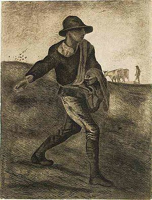 Early works of Vincent van Gogh - Image: Van Gogh 1881 04, Etten Sower (after Millet) F 830 JH 1