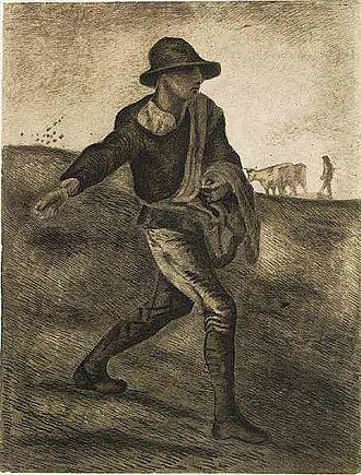 Copies by Vincent van Gogh - Vincent van Gogh, The Sower (after Millet), 1881, drawing, (F830)