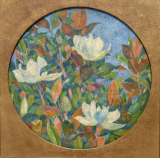 Magnolias (1910), one of his rare flower compositions; private collection Van Rysselberghe 012.jpg