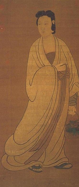 Fish in Chinese mythology - Image: Venerable Guanyin au painier de poissons attrib ZHAO Meng Fu dyn Yuan anon dyn Ming 1368 1644 rouleau sur soie 122 6 x 61 3 07587