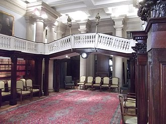 Chartered Accountants' Hall - The former library of the hall, now a members' room, includes a balustraded Venetian-style bridge, decorated with lanterns