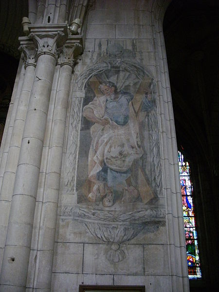 Our Lady cathedral of Verdun (Meuse, France). Fresco representing Saint Andrew