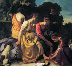 The painting with the blue-sky addition Vermeer - Diana en haar gezelschap (19th version with a blue sky).jpg