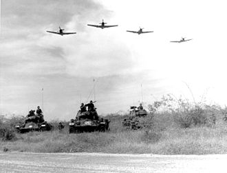 Combined arms - Aircraft, infantry and tanks working together, Vietnam War