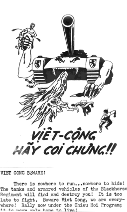 Propaganda leaflet urging the defection of Viet Cong and North Vietnamese to the side of the Republic of Vietnam Vietnampropaganda.png