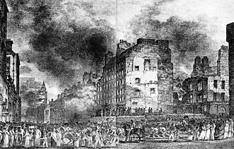 Great Fire of Edinburgh - A contemporary illustration of the fire