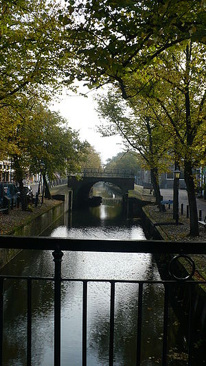 E river through Edam town in Netherlands