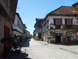 The Amazing Race Philippines 1 - The Historic Town of Vigan, was visited in the second Leg of the race. Pictured above is Calle Crisologo where teams had to transport 60 burnay jars to a marked store.