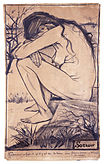 A naked woman sits facing down with her arms on her bent knees