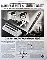 "Vintage Advertising - Parker Pen Company, Janesville, WI, ""From Harvard to Southern California, Parker Was Voted the College Favorite"", Parker Vacumatic, From Collier's Magazine, June 15, 1935 (9719783624).jpg"