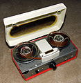 Vintage Cambridge Portable Transistor Reel-To-Reel Tape Recorder, 3 Transistor Amplifier Circuit, Battery Power Only, Model IM-501, Made in Japan, Distributed by Omscolite Corp., Philadelphia, PA (12075058186).jpg