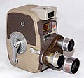Vintage Keystone 8mm Home Movie Camera, Model K-26 Triple Turret, Made In USA, Circa 1958 (32762916015).jpg