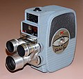 Vintage Keystone 8mm Home Movie Camera, Model K-4C, Three Lens Turret, Made In USA, Circa 1959 (32783520200).jpg