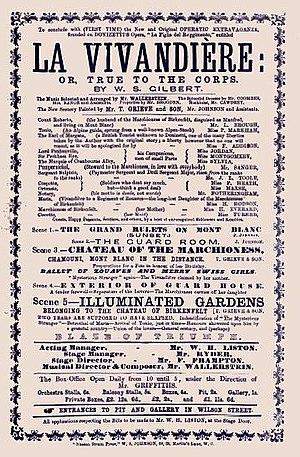 La Vivandière (Gilbert) - Programme for the 1868 London production